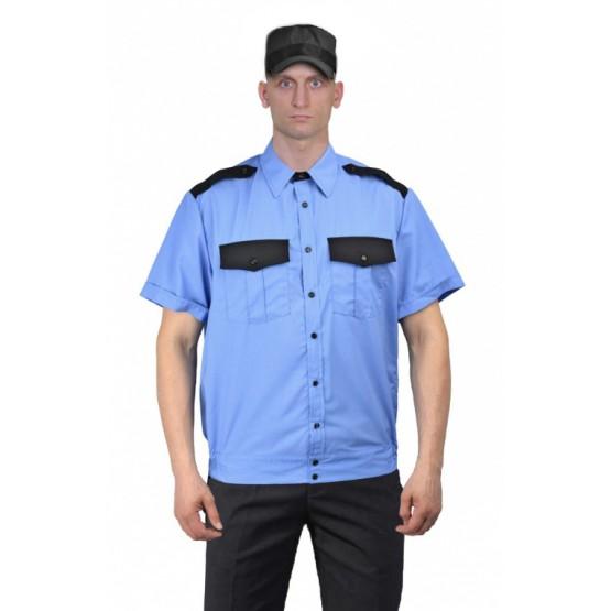 Рубашка мужская кор. рукав на резинке голубая с чёрным