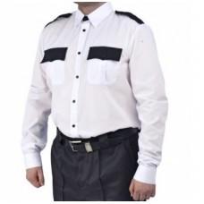 Рубашка мужская дл. рукав белая с черным
