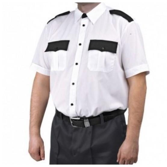 Рубашка мужская кор. рукав белая с чёрным