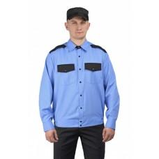 Рубашка мужская дл. рукав на резинке голубая с чёрным